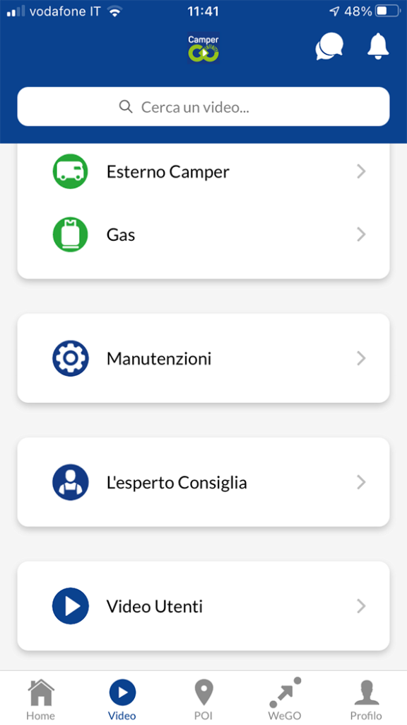 app viaggi camper infinity